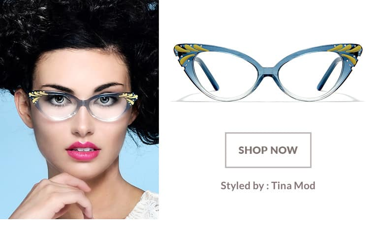 Model styled by Tina Mod wearing white browline glasses #195430.