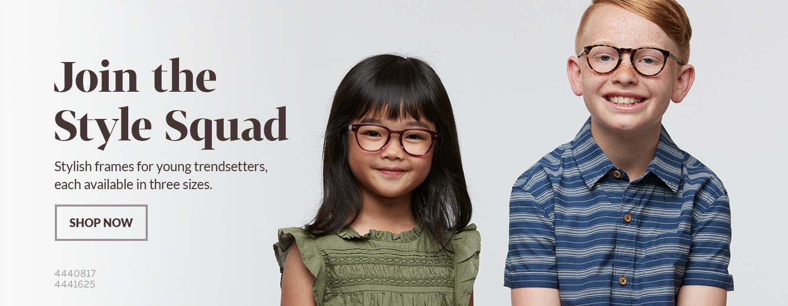 Young girl with dark brown hair and bangs wears tortoiseshell Spark cat-eye glasses #4440817 and a green ruffle top; boy with red hair and freckles wearing tortoiseshell Dream round glasses #4441625 and blue-striped polo shirt.