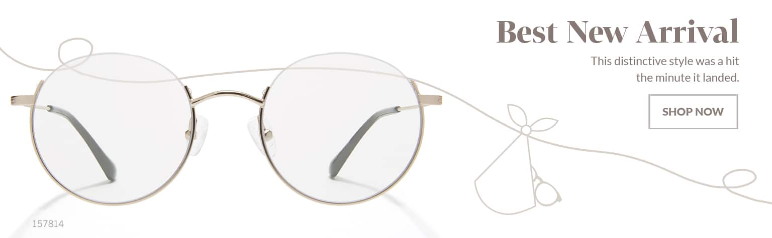 Best New Arrival – Round metal glasses #157814 in gold feature unique reverse half-rim design.
