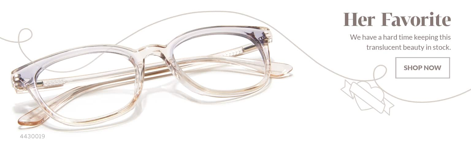 Her Favorite –Acetate square glasses #4430019 in soft translucent pink with hint of lilac.