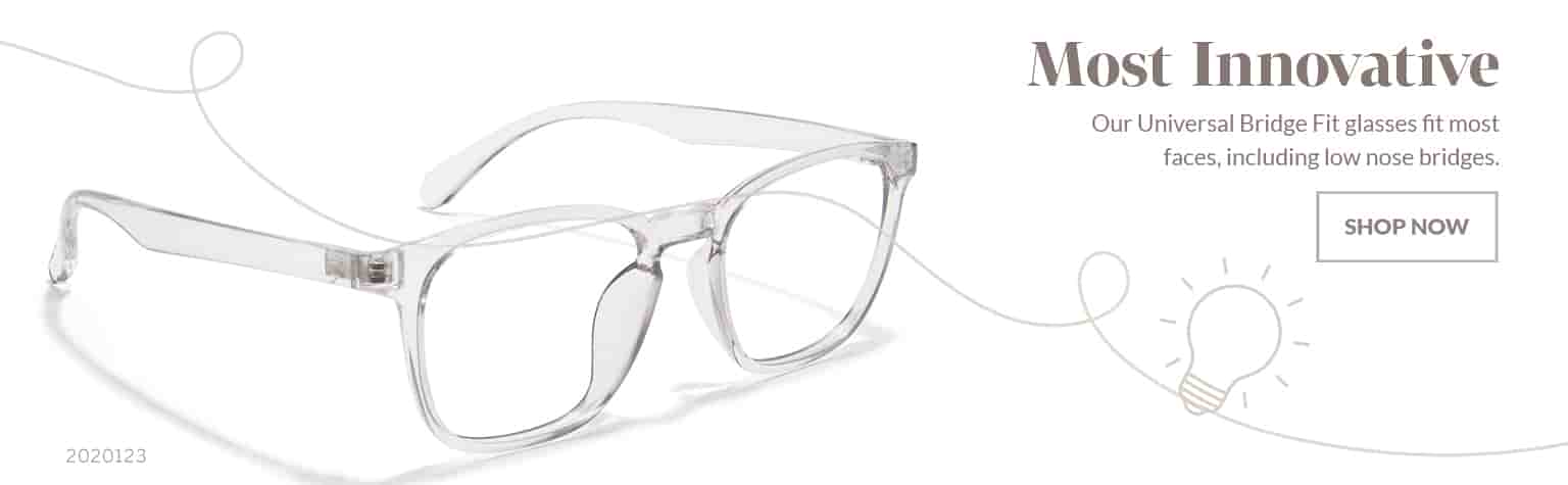 Most Innovative –Translucent square glasses #2020123 with universal bridge fit, designed to fit most nose bridges.