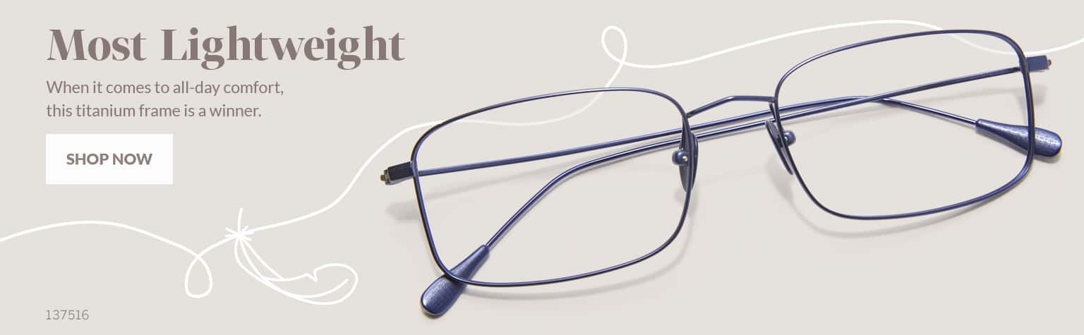 Most Lightweight –Thin titanium rectangle glasses #137516 in navy with thin and flexible temple arms.