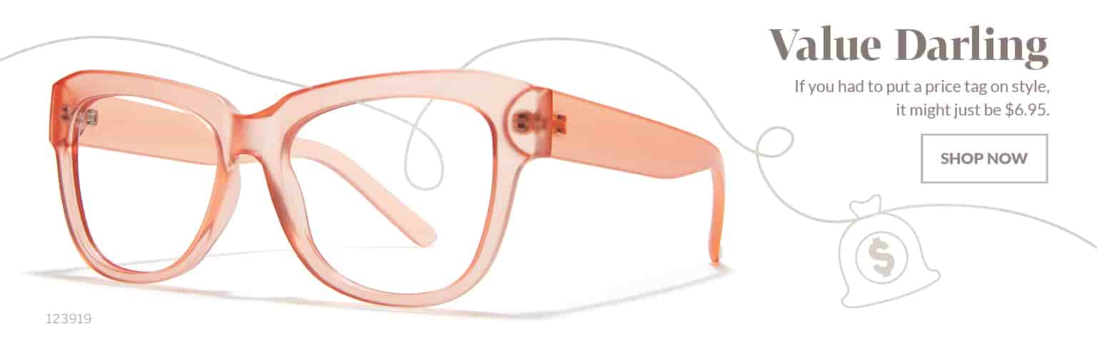 Value Darling – Juicy translucent cat-eye glasses #123919 in papaya for $6.95.