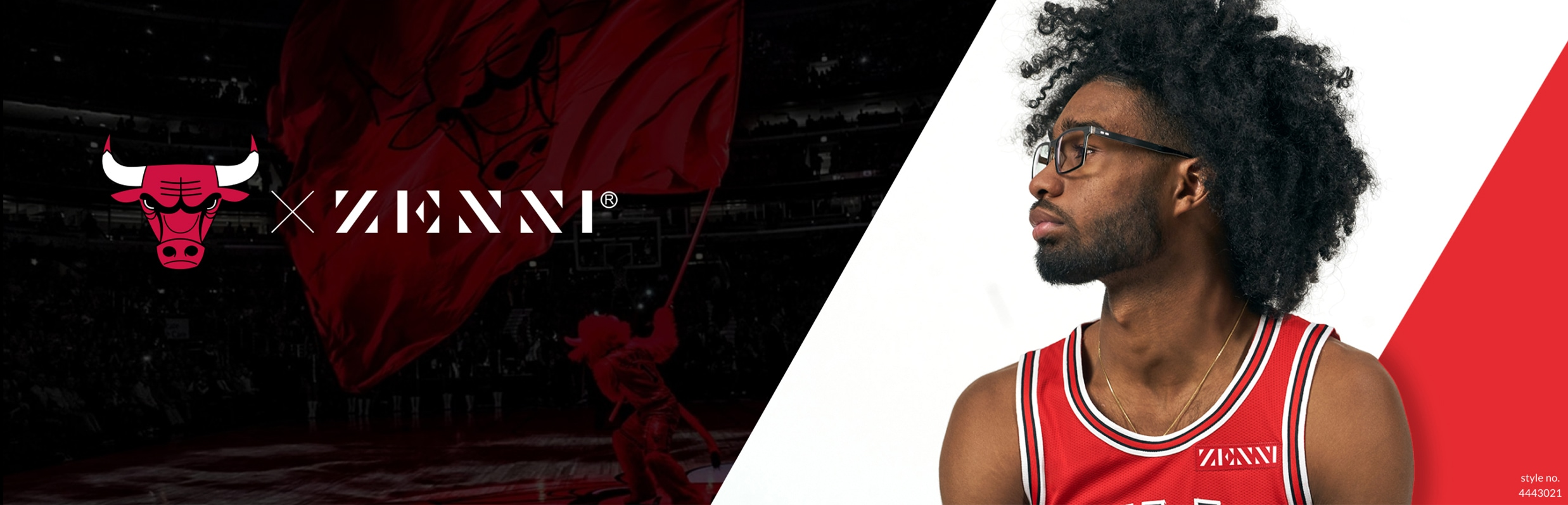 Chicago Bulls X Zenni. Coby White wearing Zenni black rectangle glasses #4443021, against a red and white background.