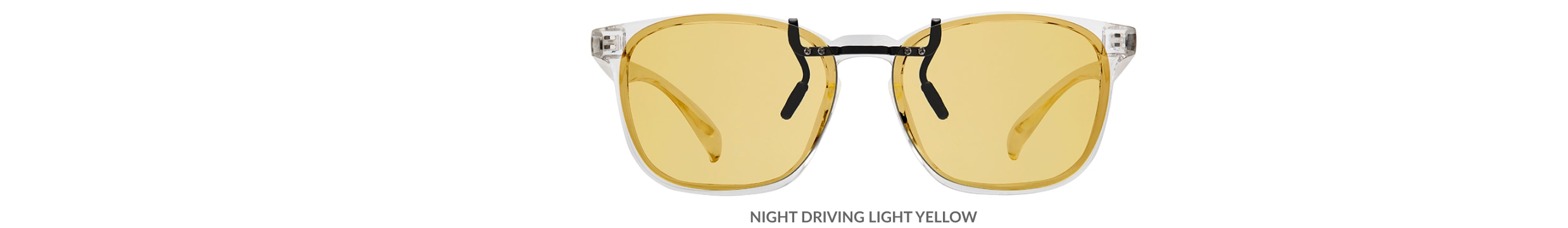 Custom clip-ons. Our polarized custom clip-ons reduce glare and are available for almost any frame. Each clip-on is specially cut to fit the frame with prices starting at just $3.95  (Compare to $50). Zenni square glasses #2020123 in clear, shown with night driving light yellow custom clip-on.