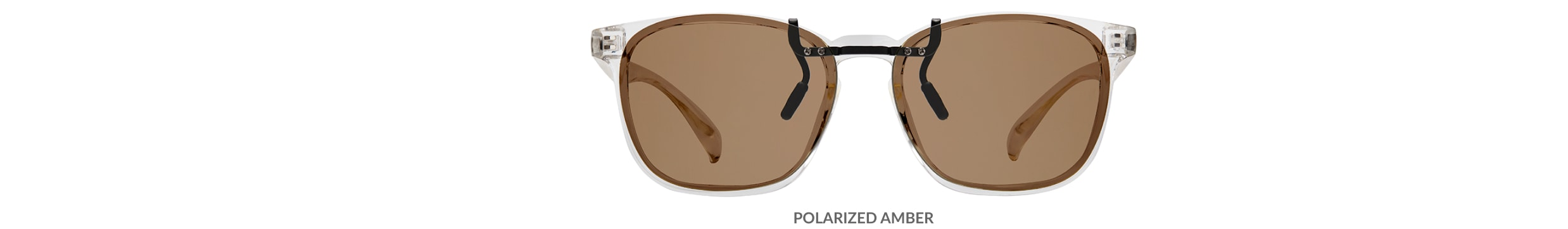 Custom clip-ons. Our polarized custom clip-ons reduce glare and are available for almost any frame. Each clip-on is specially cut to fit the frame with prices starting at just $3.95  (Compare to $50). Zenni square glasses #2020123 in clear, shown with amber polarized custom clip-on.