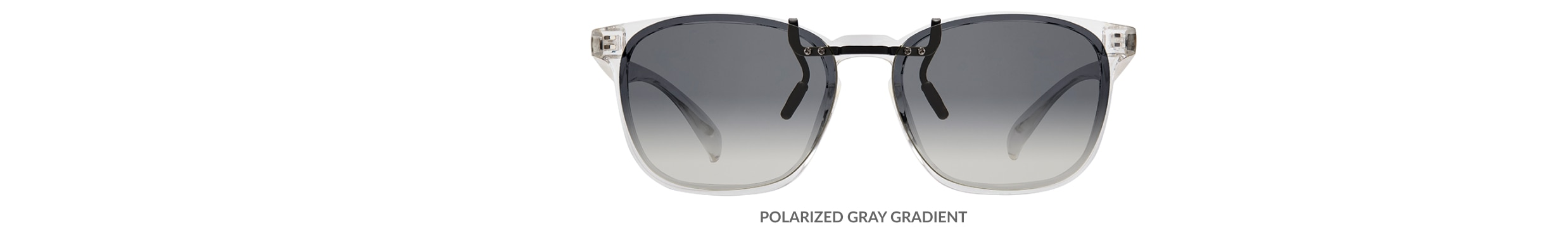 Custom clip-ons. Our polarized custom clip-ons reduce glare and are available for almost any frame. Each clip-on is specially cut to fit the frame with prices starting at just $3.95  (Compare to $50). Zenni square glasses #2020123 in clear, shown with gradient gray polarized custom clip-on.