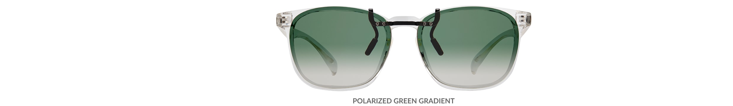 Custom clip-ons. Our polarized custom clip-ons reduce glare and are available for almost any frame. Each clip-on is specially cut to fit the frame with prices starting at just $3.95  (Compare to $50). Zenni square glasses #2020123 in clear, shown with gradient green polarized custom clip-on.