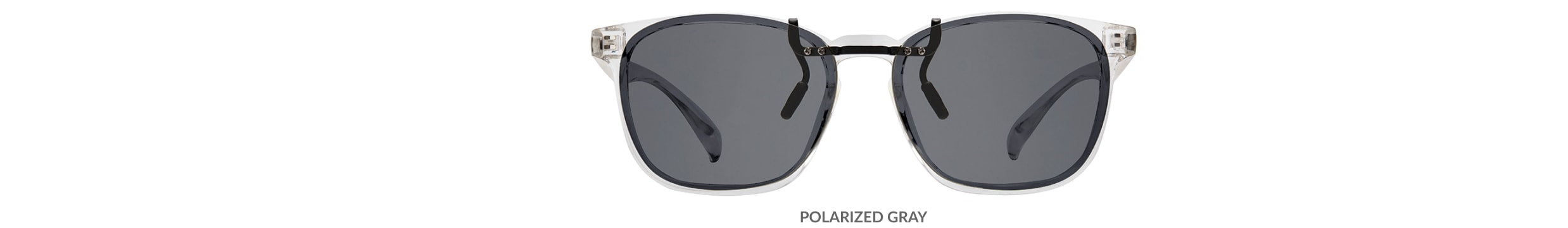 Custom clip-ons. Our polarized custom clip-ons reduce glare and are available for almost any frame. Each clip-on is specially cut to fit the frame with prices starting at just $3.95  (Compare to $50). Zenni square glasses #2020123 in clear, shown with gray polarized custom clip-on.