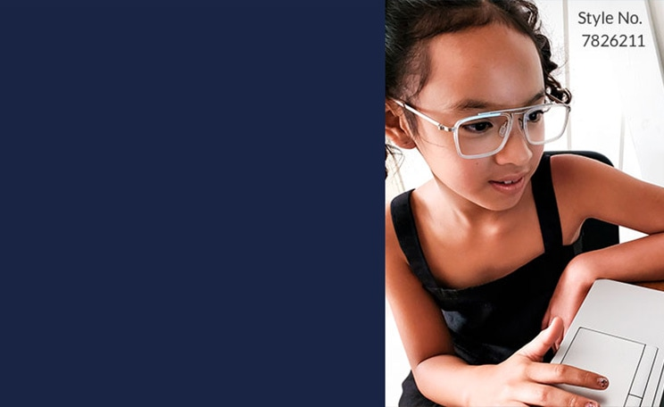 Blokz Trivex. Superior impact-resistant lenses with UV and blue-light protection. Learn more. Image of a young girl sitting in front of a laptop, wearing Zenni aviator glasses #7826211.