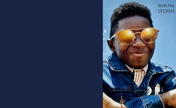 Sun protection. All Zenni lenses come with UV protection to protect developing eyes. Learn more. Image of a young boy wears Zenni aviator glasses #1913042 with mirror lenses, with a blue sky with white clouds background.