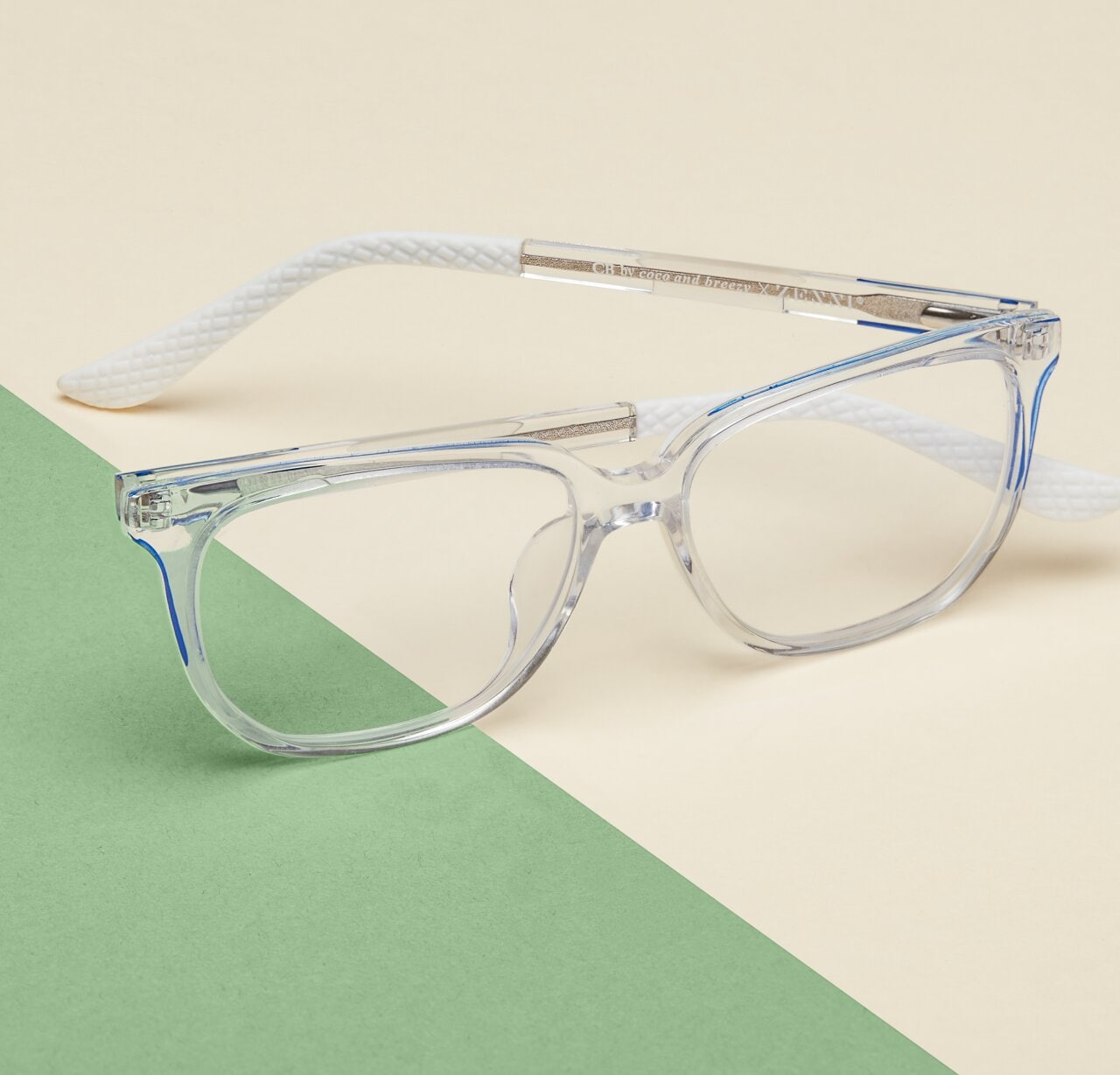 Image of Zenni clear rectangle glasses #4448123 I am fearless, against a cream and green background.