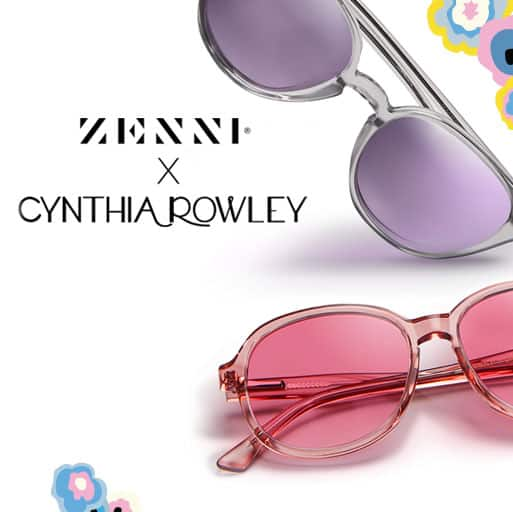 Zenni x Cynthia Rowley Collection Poppy frame #4445719 in petal shown with rose fashion tint and Iris frame #4446412 in mist shown with lavender mirror tint.