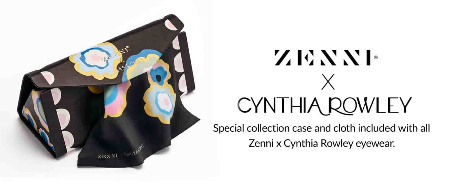 Zenni x Cynthia Rowley Collection deluxe tri-fold case and cloth #A90100739 in black with whimsical floral pattern.