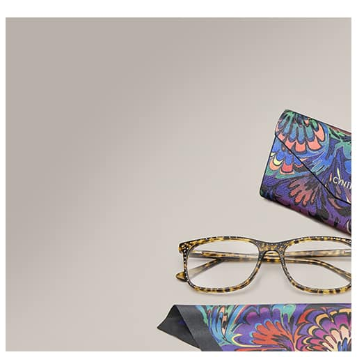 Zenni x Cynthia Rowley tortoiseshell square glasses #4444125 with micro studs with special Zenni x Cynthia Rowley multi-colored deluxe tri-fold case and matching lens cloth.