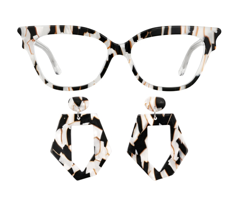 Image of Zenni cat-eye glasses #4445231 and earrings #A750000135.