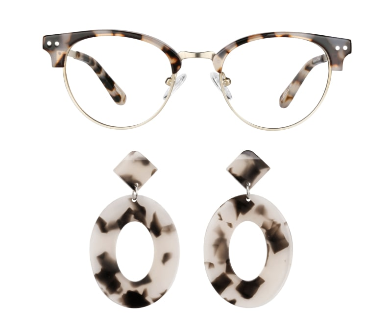 Image of zenni browline glasses #7822035 next to earrings #A750000235.