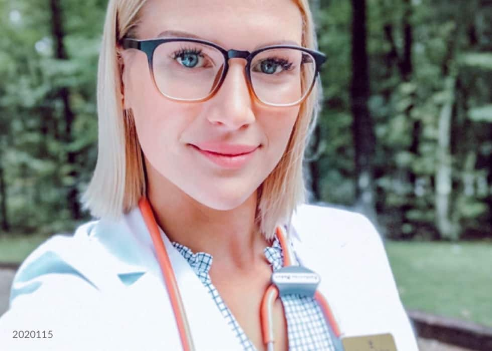 First responder and medical personnel. Save 10%. Image of a medical personnel wearing Zenni square glasses #2020115, standing outside in a field.