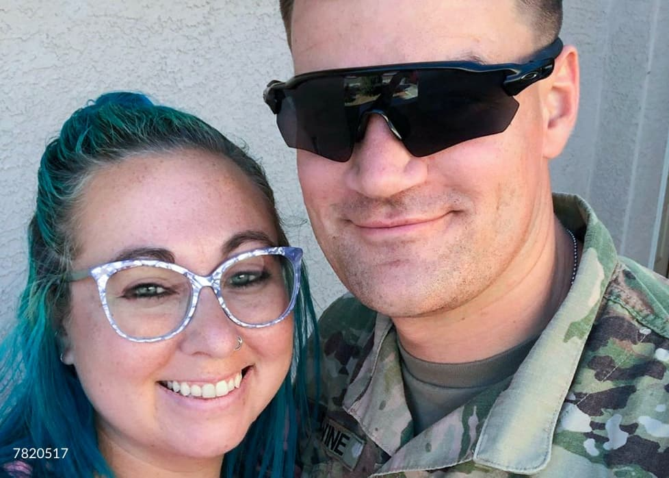 Military. Save 10%. Image of a woman wearing Zenni cat-eye glasses #7820517, standing next to a man wearing military fatigues.