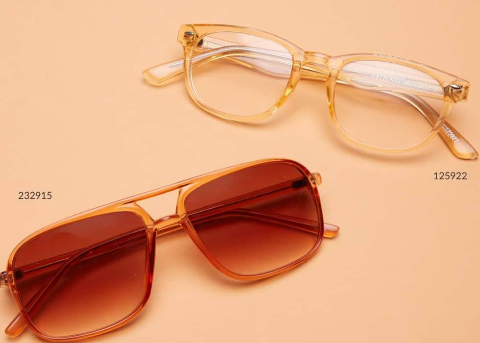Under $10. Wallet-friendly styles for the whole family. Shop all. Image of Zenni oval glasses #125922 and Zenni aviator glasses #232915, on an orange background.