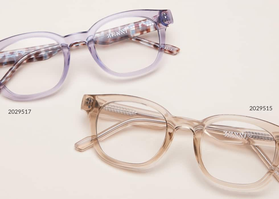 Under $20. Put your best face forward without breaking the bank. Shop all. Image of Zenni square glasses #2029517 and Zenni square glasses #2029515, in a beige background.