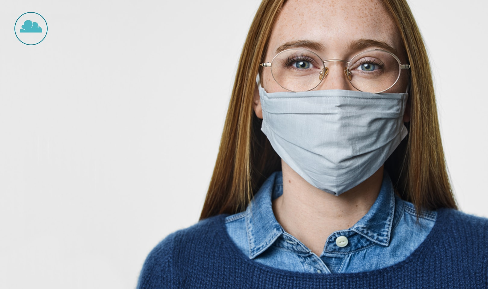 Image of an icon for a fog cloud. Image of a woman wearing face mask wearing round glasses.