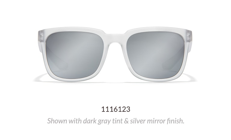 These contemporary premium square sunglasses have a matte translucent finish. Shown in frost with dark gray tinted lenses and silver mirror finish.