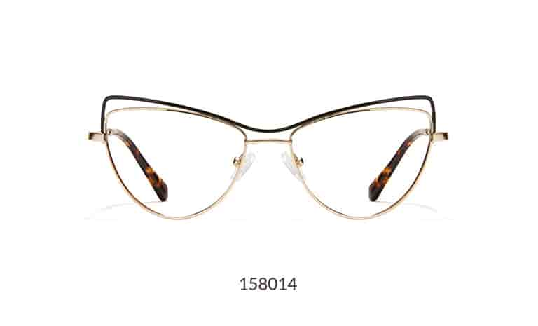 These ultra-chic cat-eyes have an intriguing double-brow bar design. The wide metal frame has a shiny gold rim with a shiny black brow.