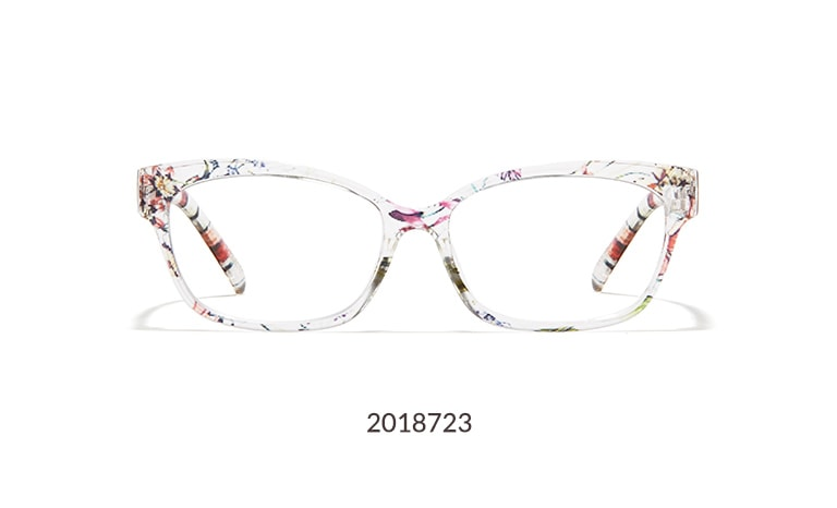These cat-eye glasses offer incredible comfort and style at an unbeatable price. Made with lightweight TR90 plastic, this medium-wide frame is shown in translucent floral pattern.