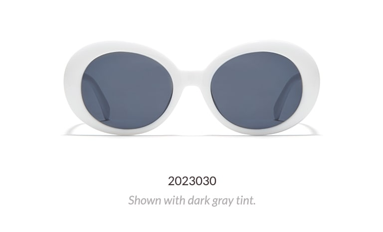 Sixties-inspired, bold oval sunglasses shown in white with dark gray tint.