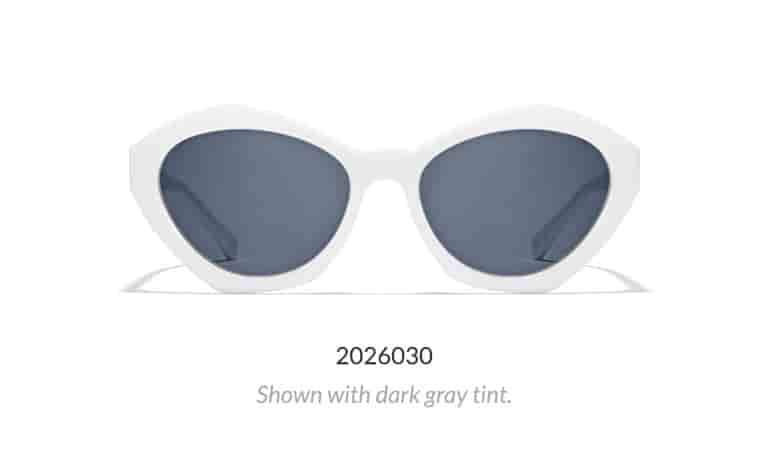 Get noticed in these retro-inspired white plastic geometric sunglasses shown with dark gray tint.