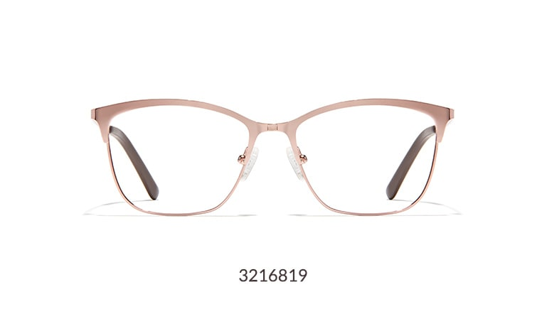 These stylish square glasses have a classic shape with a modern edge. Shown in rose gold.