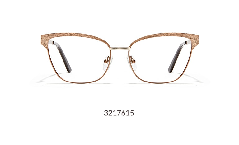 These bronze metal cat-eye glasses feature a textured metal browline, which gives them subtle intrigue.