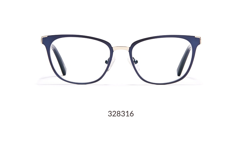 These chic glasses are part of our Sophisticated Eyewear line which features statement-ready frames that take you effortlessly from work to weekend. The navy cat-eye frame features a stainless steel rim with a satin finish.
