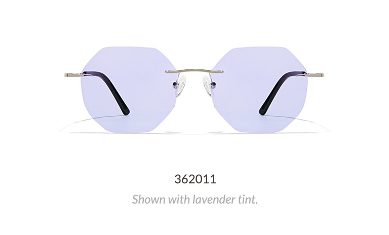 These modern rimless glasses feature a stainless steel construction. Shown in silver with rose tinted lenses.