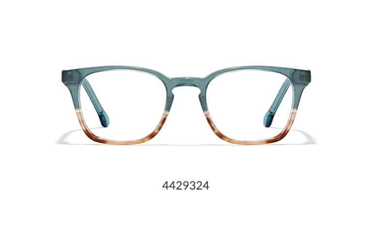 These square glasses have been hand-polished to a glossy finish for a high-fashion look that acetate is famous for. Shown in emerald/copper color.