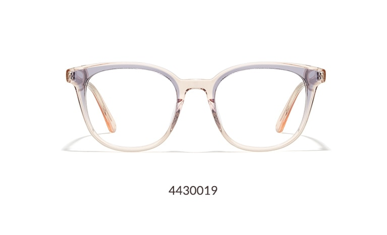 These fashion-forward square glasses have a lovely hint of translucent color. The medium-sized, high-quality frame is made with acetate that is hand-polished to a glossy finish. It is shown in translucent pink with a hint of lilac.