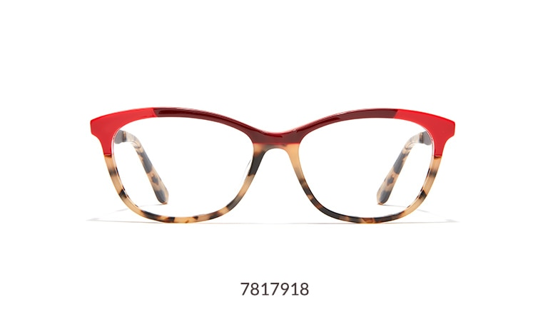 Fashion-forward acetate cat-eye glasses tortoiseshell with bright red and dark red accents.