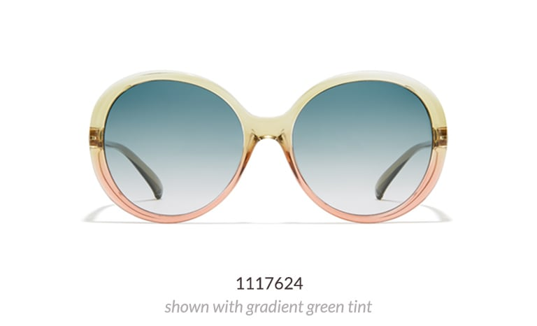 Make a bold statement in these glamourous premium sunglasses with oversized, rounded lenses. Shown in watermelon color option with gradient green tint.