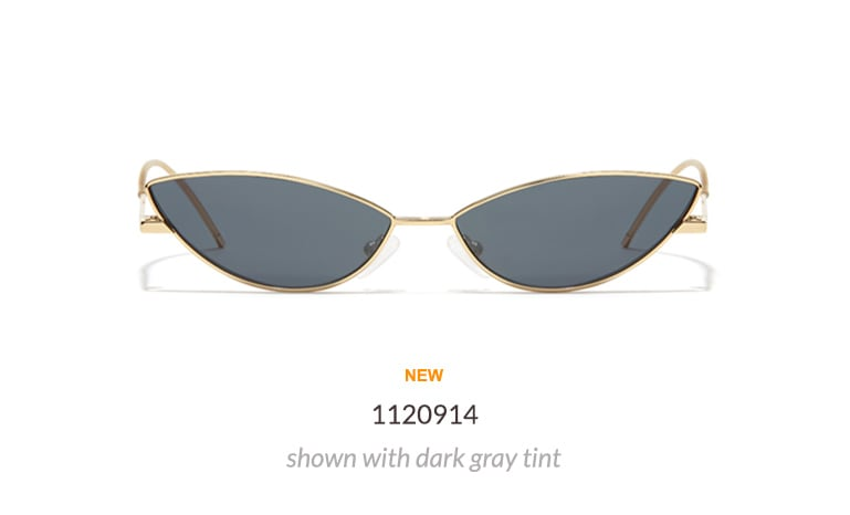 Go all in on the microshades trend with these extremely narrow cat-eyes. Shown in gold with dark gray tint.