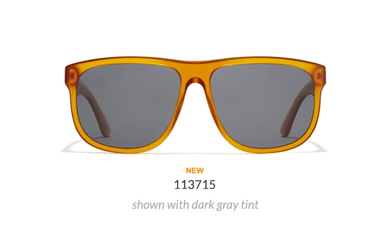 Acetate premium square sunglasses #113715 shown in brown with dark gray tint.