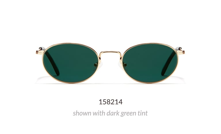 Road Trip is a metal oval frame with timeless appeal from the TimoxZenni Collection. It is shown in gold option with dark green tint.