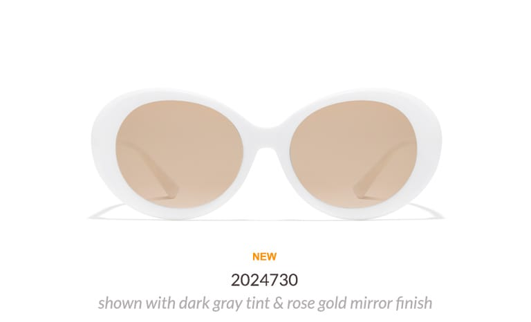 Mod-style white plastic oval sunglasses #2024730 shown with dark gray tint and rose gold mirror finish.