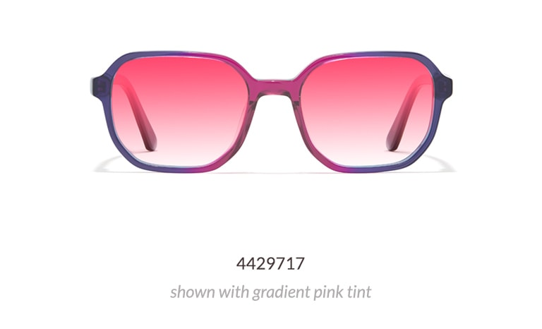 The translucent acetate frame is shown in orchid, which is pink and purple toned, with gradient pink tint.