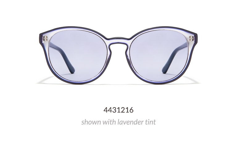 These round glasses are clear with an opaque outline, creating a striking effect.Shown in blue with lavender fashion tint.