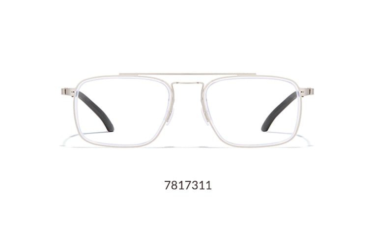 Make a true fashion statement in these modern silver metal rectangle glasses, which have a striking layered design around the lenses, giving it added depth and shine.