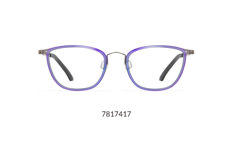 Add a pop of color to your eyewear wardrobe with these sleek purple cat-eye glasses with shiny metallic overlay.