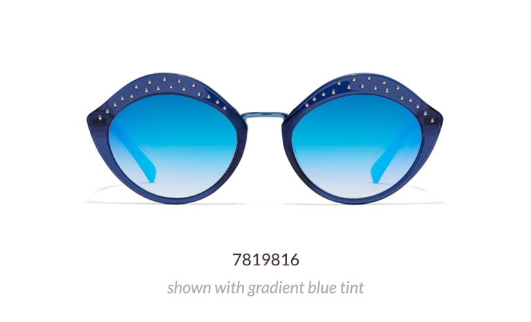 Add some pop to your look with this whimsical lip-shaped frame. Made with hand-polished acetate, it features small studs along the top rims. Shown in blue with gradient gray tint and blue mirror finish.