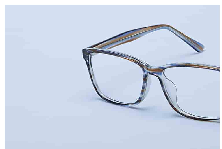 Plastic rectangle glasses #2023615 with brown stripe pattern and universal bridge fit.