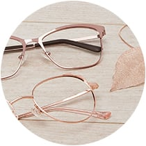 Square metal glasses #3216819 and cat-eye metal glasses with kitty ear accents #3219619 in rose gold.